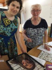 Roya Khorsandi of Kimberley College submitting her students' entries with Gloria Dietz-Kiebron YYAA convenor
