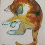 a painting of a calico cat grooming itself