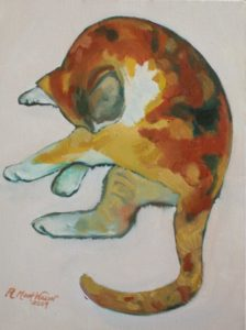 Artwork of Robin Wilson - art tutor - yurara art society - online art lessons - painting of a calico cat grooming itself