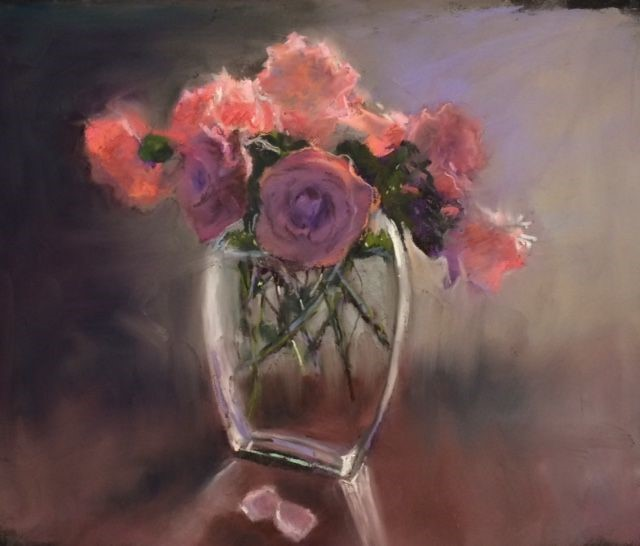 a pastel paiting of a clear vase with red and purple roses in it