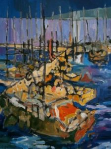 painting of a marina in an expressionistic style