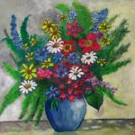 redland yurara art society - flowers art exhibition - february 2020 - painting - 'Fleurs' by Tarja Rantala $120 - bright coloured flowers - foliage - blue vase