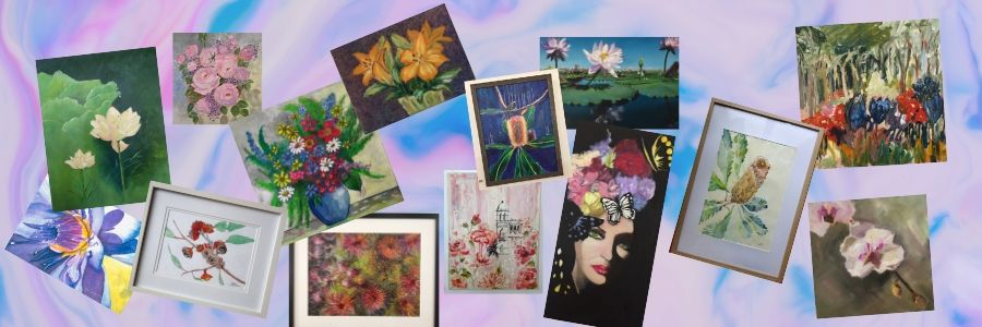 redland yurara art society - flowers exhibition - february 2020 banner