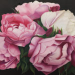 a painting of pink peonies with a dark background