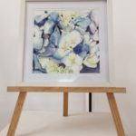 a painting of blue and white hydrangeas