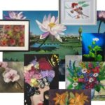 a montage of different flower paintings