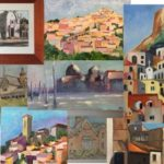 a montage of paintings of buildings and houses