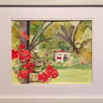 redland yurara art society - art for sale - 'Canadian Country Garden' - Karen Munster - painting - red geraniums - ironwork - garden - bright colours