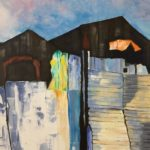 a striking painting of a ramshackle building made of corrugated iron