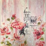 redland yurara art society - art for sale - 'Summer' - Anita Mangakahia - Screen print Canvas - pink flowers - tower