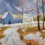 a painting of a house and barn with snow covered foreground