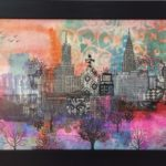 a mixed media composition of city buildings with pink, purple and orange colours surrounding