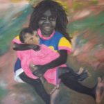redland yurara art society - art for sale - 'Big Sister'- Arja Tossavainen - painting - indigenous child - holding a baby