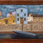 a painting of a blue building and ochre and brown coloured buildings, brickwall and boat on water