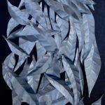 redland yurara art gallery - art for sale - 'Drift' - Lynne Wright - Aluminium leaves - Canvas - sculpture