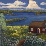a painting of a little brown house surrounded by wildflowers in front of a lake