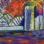 redland yurara art society - art exhibition - Houses and Buildings - - 'Fireworks' - Tarja Rantala - sold artwork - bright colours - sydney opera house - sydney skyline