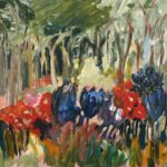 redland yurara art society - flowers art exhibition - february 2020 - painting - 'Forest of Flowers' Rosie Sheehan - bright coloured flowers - foliage - blue vase - expressionism