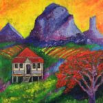 redland yurara art society - houses and buildings exhibition - online - March 2020 'Glasshouse Mountains' Tarja Rantala - bright colours - painting - house - red Poincinania tree