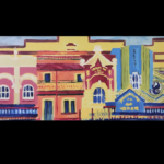 redland yurara art society - art for sale - 'Heritage Streetscapes' - Karen Munster - montage - heritage building profiles - bright colours - glen innes nsw