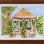 a painting of a pergola in the garden of the Grand View Hotel