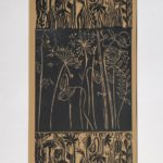 "redland yurara art society - art for sale - ""Beige n Black"" Anita Mangakahia - Original Linocut- Unframed"