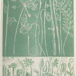 "redland yurara art society - art for sale - ""Soft Green Garden' - Anita Mangakahia - Original Linocut print"