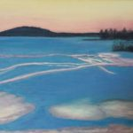 redland yurara art society - art for sale - 'Melting Snow' - Arja Tossavainena - painting - blue lake - surrounding mountains - melting snow