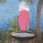 a painting of a pink galah sitting on the edge of a birdbath
