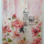 redland yurara art society - flowers art exhibition - february 2020 - mixed media painting - 'Summer' by Anita Mangakahia - printmaking - tower - red flowers - pink background