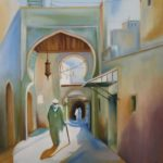a painting of a person walking down a laneway with morrocan archways