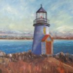 redland yurara art society - art for sale -'The Lighthouse' Arja Tossavainen - painting - lighthouse by day - calm seas