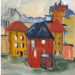a painting of a red house amongst other houses of differing colours