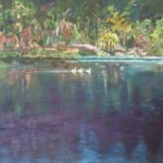 redland yurara art society - art for sale - 'Three Swans' - Arja Tossavainen -painting - swans -paddling - waterway - reflections - rocks and trees