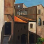 a painting of doorways, windos and shadows in a tuscan village