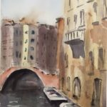 a watercolour painting of buildings lining a canal in Venice