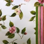 'Southbank Camelias' - 'Camelia Stripe' - Anita Mangakahia - Water colour designs - natural fabric - available by the metre - tea towels - cushions