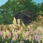 redland yurara art society - art for sale - 'Wild Flowers' - Arja Tossavainenpainting - blonde girl - amongst wildflowers - hut
