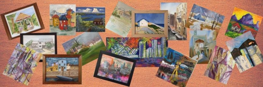 redland yurara art society - houses and buildings art exhibition - march 2020 - banner