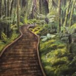 redland yurara art gallery - autumn exhibition - leaves - 'A Path Through Aotearoa' - Daria Rezner - wooden pathway - leafy green