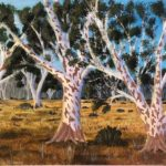 redland yurara art society - autumn exhibition - leaves - 'Amongst the Gumtrees' - Daria Rezner - vibrant colours - speckled trees - painting - - YYAA 2019 - YYAA 2020 - Yurara membership acrylic - wood panel