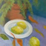 redland yurara art society - autumn exhibition - leaves - 'Autumn Alfresco' - Pam MacColl - oil painting - lemons - bowl - still life