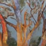 redland yurara art society - autumn exhibition - leaves - 'Bushland Glow' - Bernie Dawson - painting - gumtrees - sunset - Oil