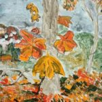 redland yurara art society - autumn exhibition - leaves - 'Carpet of Leaves' - Rosie Sheehan - orange colours - different leaves