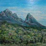 redland yurara art society - autumn exhibition - leaves - 'Cradle Mountain' - Peter Veal - painting - acrylic - trees - mountain