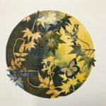 redland yurara art society - autumn exhibition - leaves - 'Eclipse' - Anita Mangakahia - yellows - greens - olive colour - circular print - framed