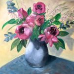 redland yurara art society - autumn exhibition - leaves - 'Floral Beauty' - Judith Shaw - blue vase - pink flowers - different leaves
