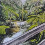 redland yurara art society - autumn exhibition - leaves - 'Footbridge at Lagoon'- Peter Veal - birds - lagoon - tropical leaves
