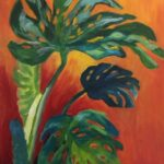 redland yurara art society - leaves - online - art exhibition - painting - 'Monstera' - Karen Munster - Acrylic on Canvas
