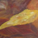 redland yurara art society - autumn exhibition - leaves - painting - ''Rainforest Floor'- Jacqui Selke-Pike - Pastel on Paper - Framed - gum leaves - golden brown colours - reds